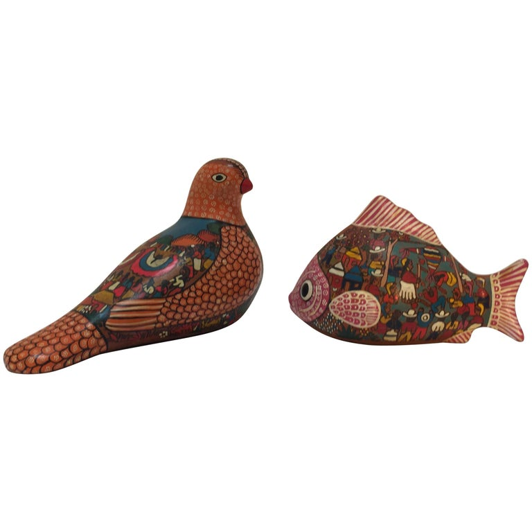 Mexican Hand-Painted Colorful Pottery Bird and Fish