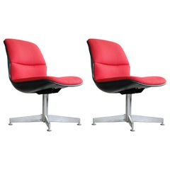 Pair of Conference Chairs in Steel and Red Wool by Chrome Craft