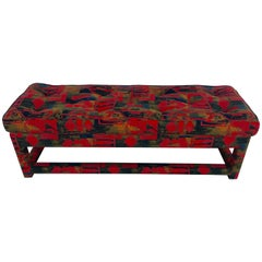 Milo Baughman Parsons Upholstered Long Bench, in Vintage Larsen Fabric