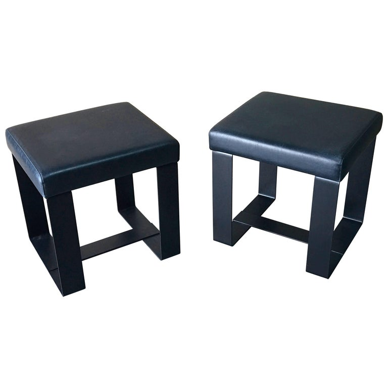 Pair of French Modern Iron and Leather Cube Benches For Sale