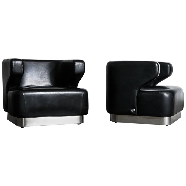 """1970s Pair of """"Cheval"""" Armchairs by Moscatelli for Formanova For Sale"""