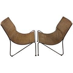 Great Pair of Mid-Century Sling Wicker Lounge Chairs