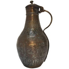 19th Century Middle Eastern Tinned Copper Ewer
