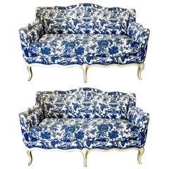 Pair Vintage Toile Small Louis XV-Style Sofas