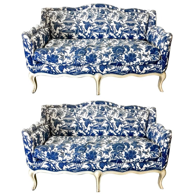 Pair Vintage Toile Small Louis Xv Style Sofas At 1stdibs