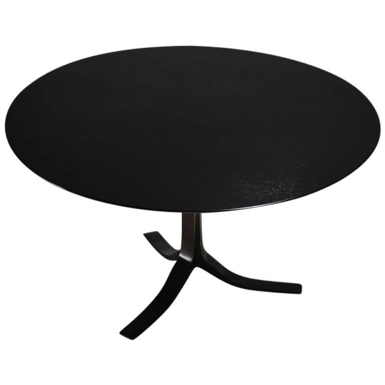 Bespoke Round Table with Polyurethane Color Black Finish by P. Tendercool For Sale