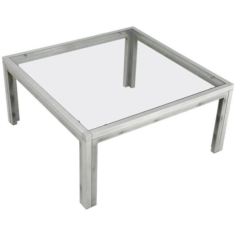 Italian Square Chromed and Glass Coffee Table