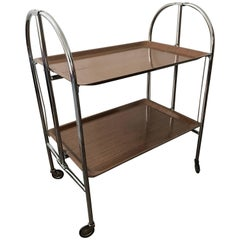 1955 Swedish Chrome and Laminate Folding Serving Cart