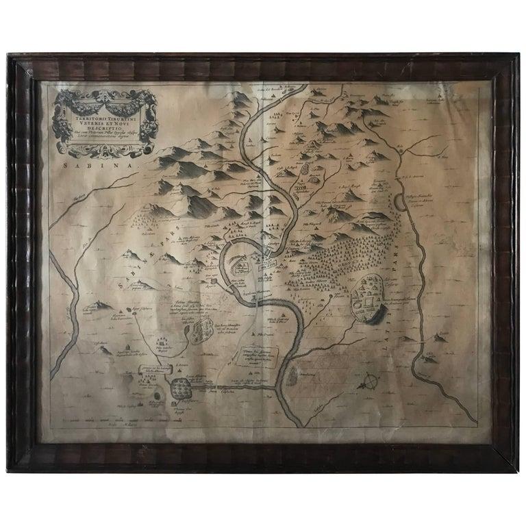 """1680 Athanasius Kircher Map """"Territorii Tiburtini Veteris Et Novi Descriptio"""""""