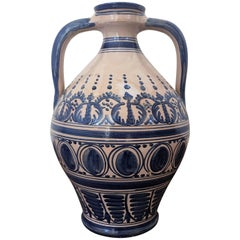 Striking Continental Glazed Earthenware Blue and White Painted Urn