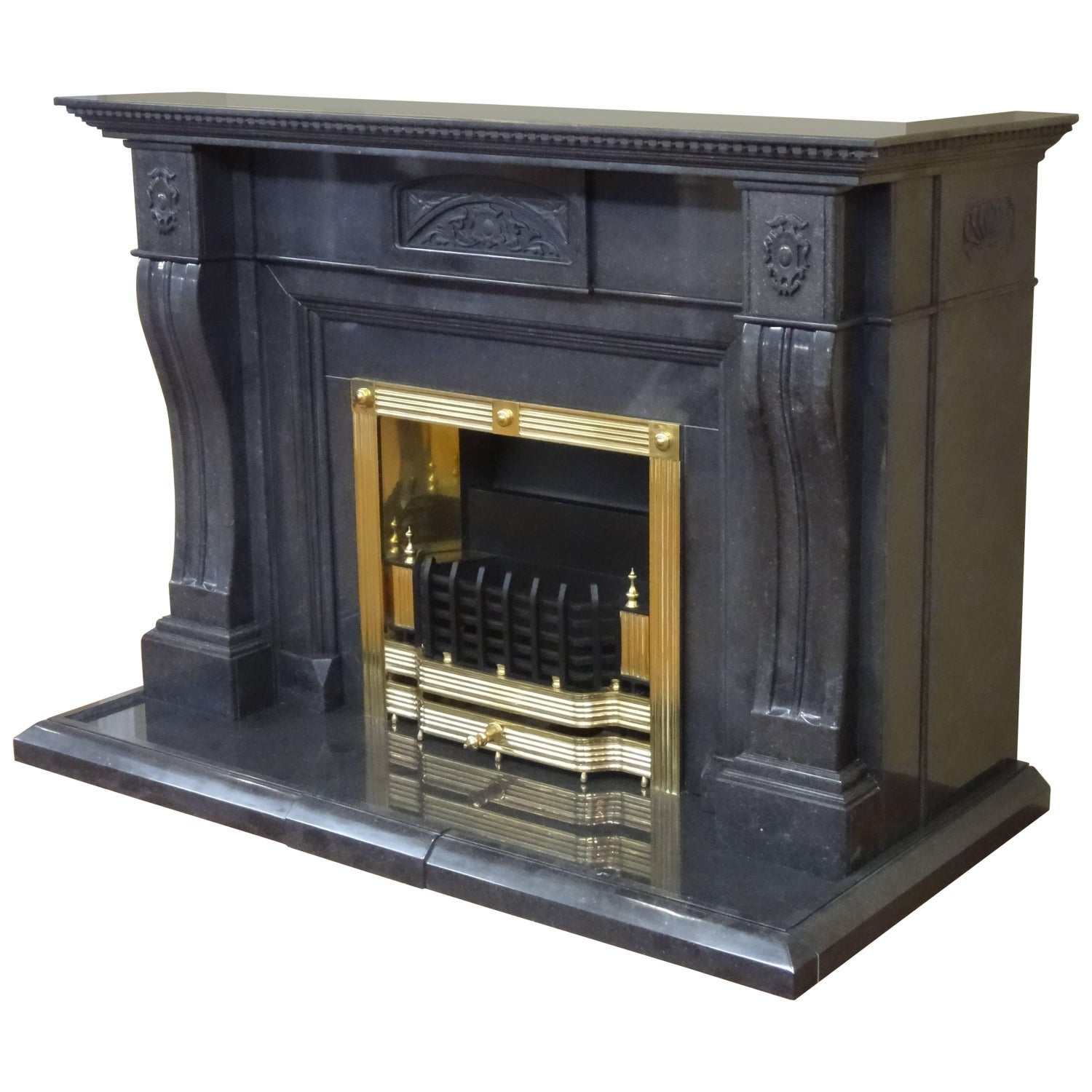 carved marble wrap around chimney breast fireplace with brass