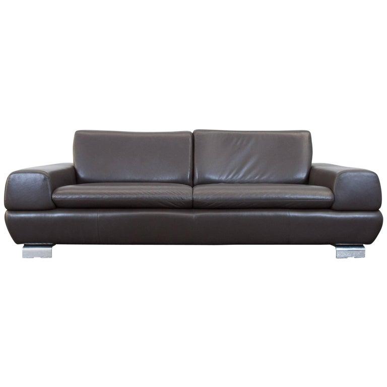 willi schillig designer sofa brown leather three seat couch modern chrome at 1stdibs. Black Bedroom Furniture Sets. Home Design Ideas