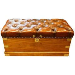 Victorian Camphorwood and Leather Ottoman Trunk