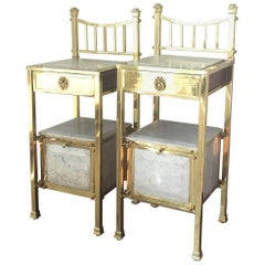 Pair of 1920s Brass and Marble Nightstands