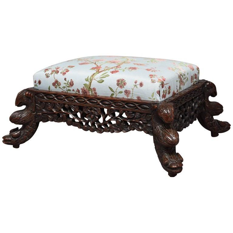 19th Century Hardwood Anglo-Indian Footstool