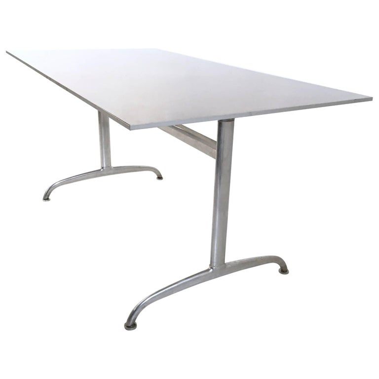 Aluminum Table or Writing Desk, Italy, 1950s For Sale