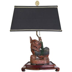 Foo Dog Lamp with Frederick Cooper Shade and Jade Tassel Decoration