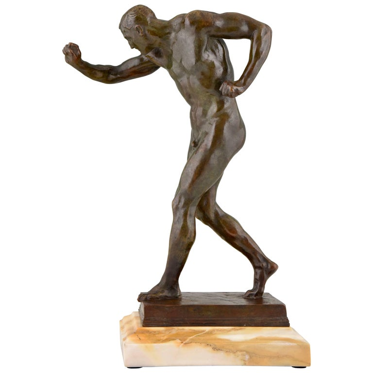 Antique Italian Bronze Sculpture of a Male Nude Athlete, circa 1900