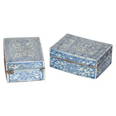 Pair of Blue and White Painted Chinese Porcelain Lidded Boxes