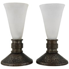 French Pair of Art Deco Wrought Iron and Glass Table Lamps Daum Freres, Nancy