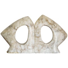 Sculptural Pair of Mid-Century Modern Marble Bookends