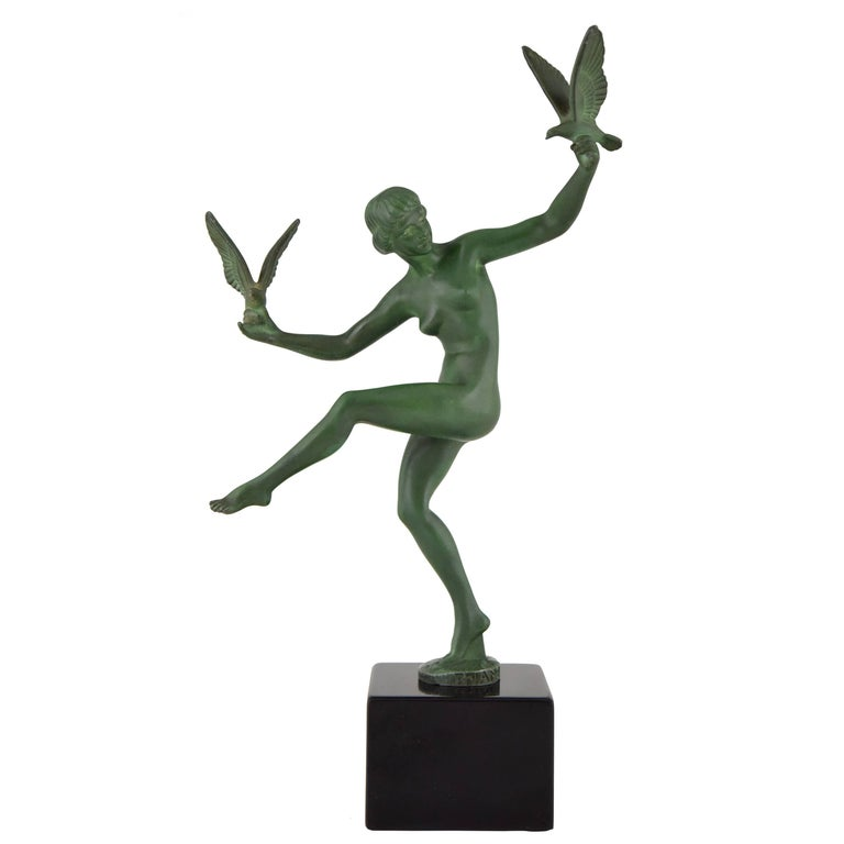 Art Deco Sculpture Nude Dancer with Birds by Briand, Marcel Bouraine 1930 France