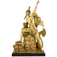 Antique Bronze Sculpture Ajax Defying the Gods after Dupaty, France, circa 1880