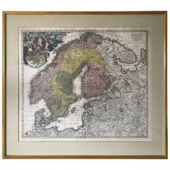 1735 Johan Homann Hand Colored Scandinavian Map Extremely Rare