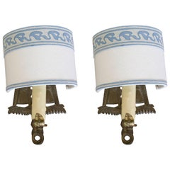 Pair of Brass Wall Sconces with Fortuny Shades