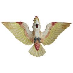 Oversize Majolica Parrot Applique Sarreguemines, circa 1870