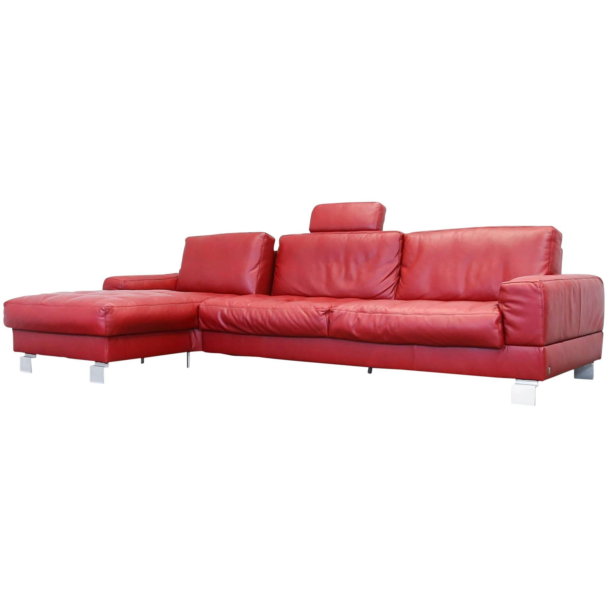 Musterring Cornersofa Red Leather Couch Designer Sofa Modern Function  Bordeaux For Sale