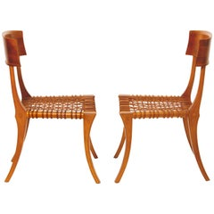 T.H. Robsjohn-Gibbings Original Pair of Klismos Chairs by Saridis of Athens