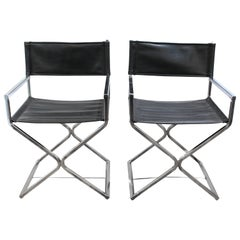 Pair of Chrome and Leather Directors Chairs