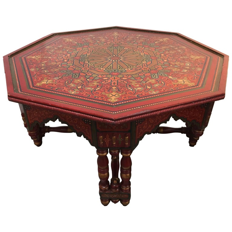 Handcrafted Hand Painted Octagonal Moroccan Coffee Table For Sale At 1stdibs