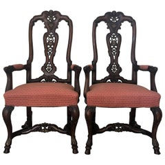 1940s Burl Walnut Queen Anne Style Pair of Armchairs