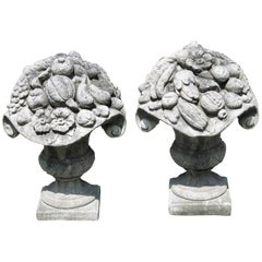 Pair of Vintage Cast Stone Baskets of Fruit