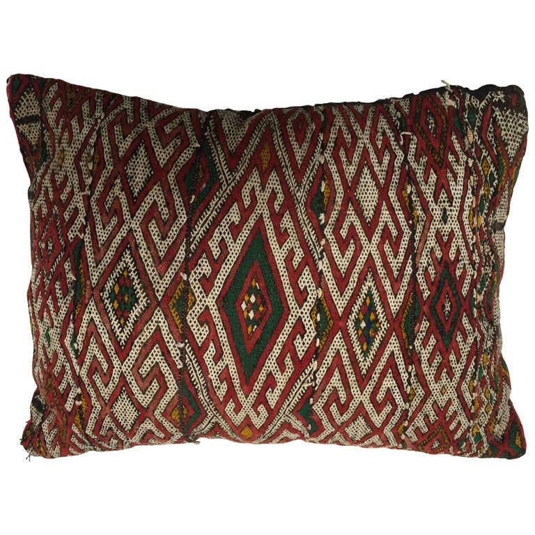Moroccan Berber Handwoven Tribal Throw Pillow Made From A
