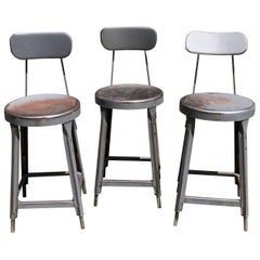 Three Vintage Metal Industrial Stools Barstools