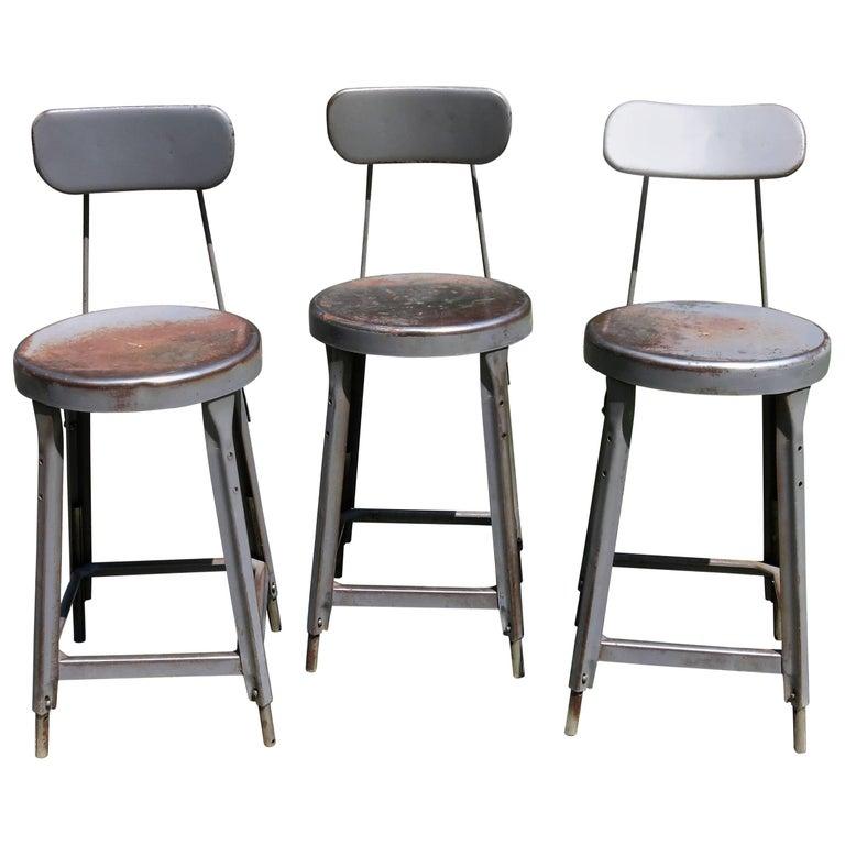 Three Vintage Metal Industrial Stools Barstools