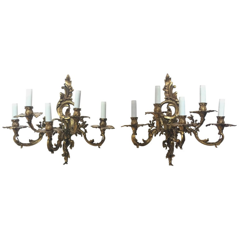 French 19th Century Gilded Bronze Wall Sconces