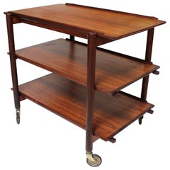1960s Poul Hundevad Rosewood Bar Cart with Sliding Top and Removable Trays