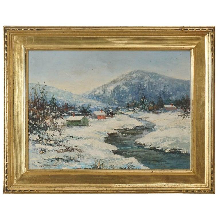 Schnitzspahn Oil on Board, Landscape in a Newcomb Macklin Frame