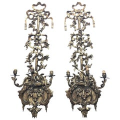 Pair of 19th Century Regency Carved Giltwood Sconces or Wall Appliques