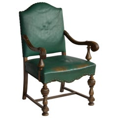 Antique English Leather Armchair