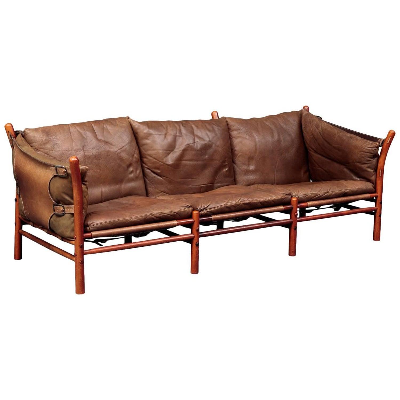 Rare Arne Norell Ilona Three Seat Sofa in Brown Leather Sweden