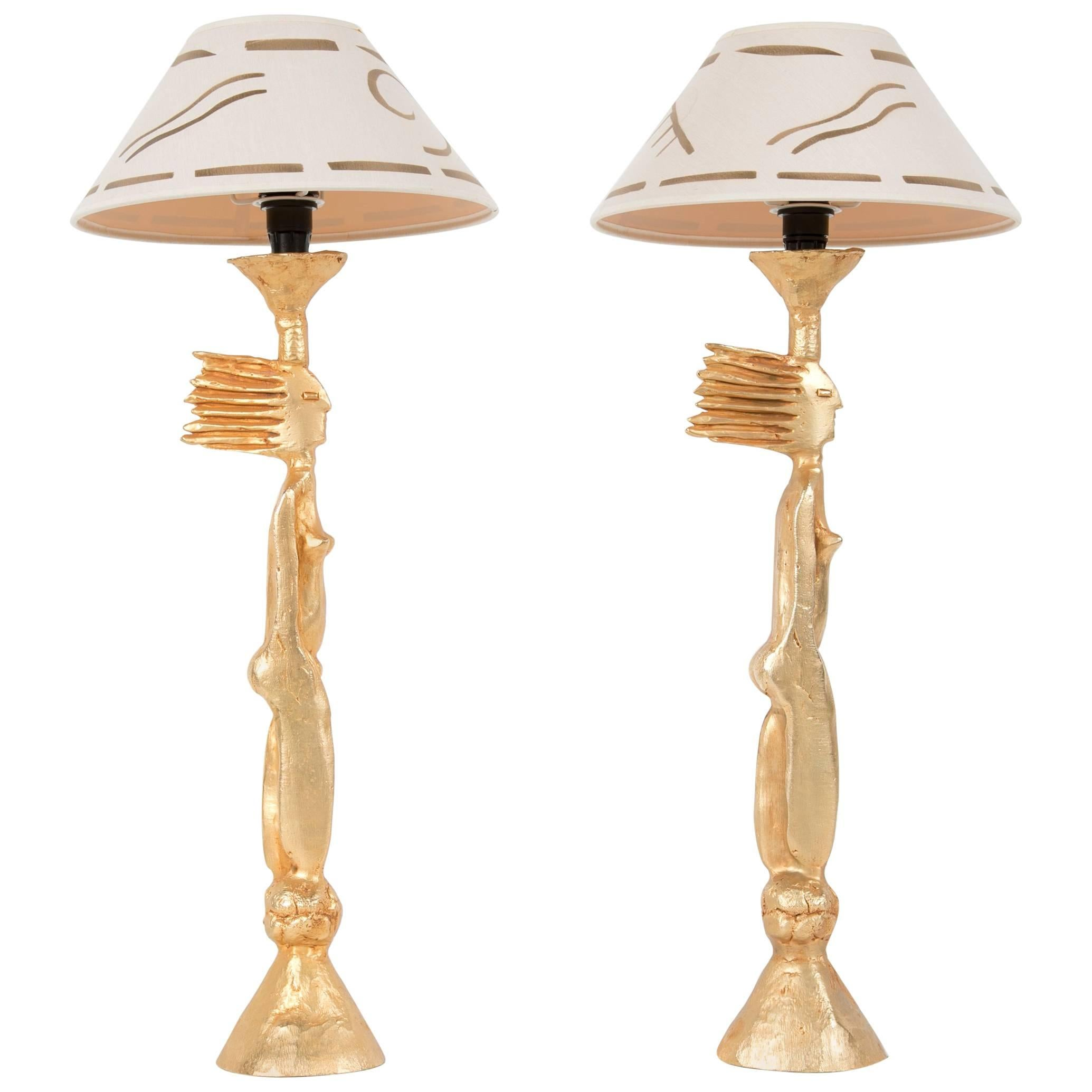 Pair of Gold-Plated Metal Table Lamps by Pierre Casenove with Original Shade