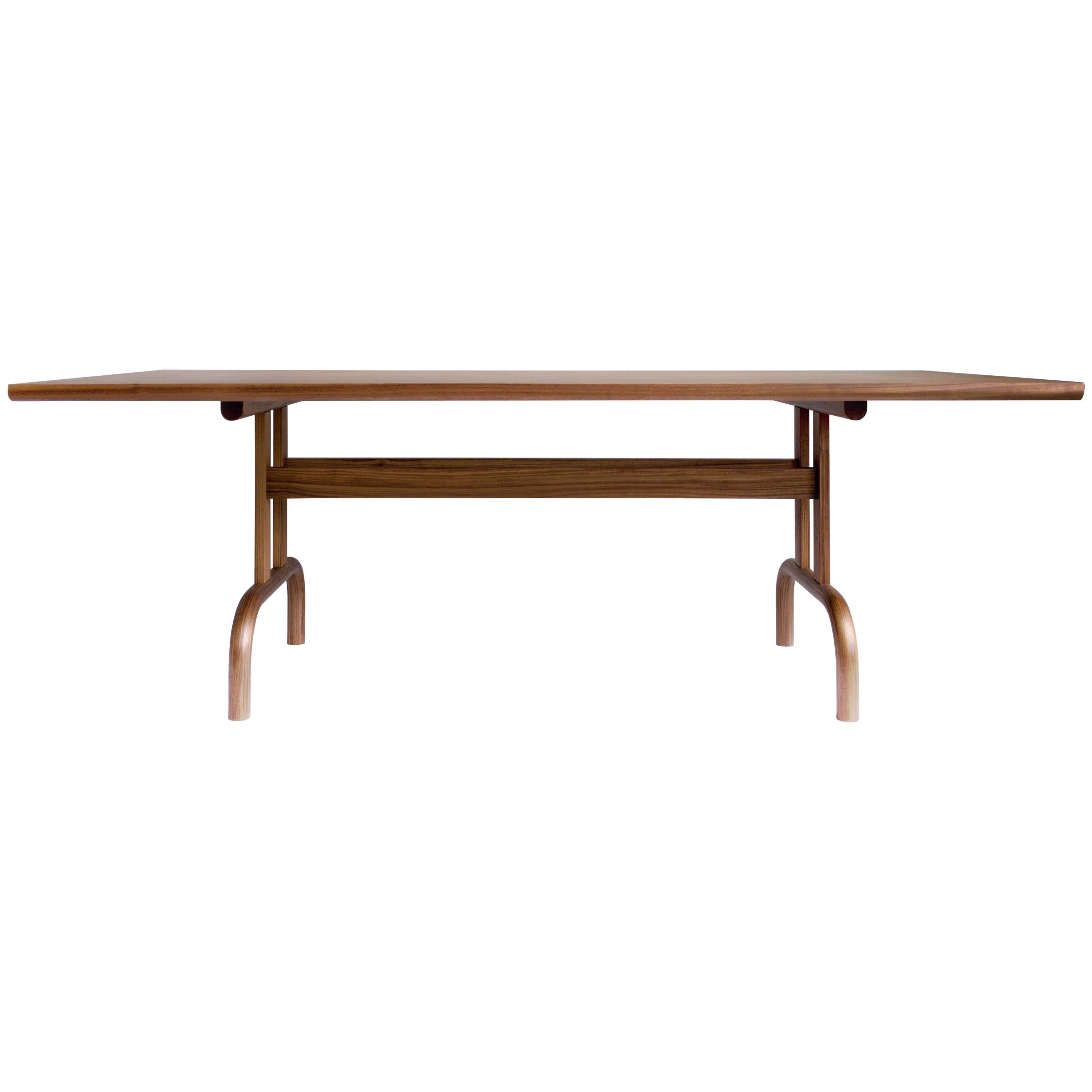 Feast Dining Table in Solid Wood and Brass by Bowen Liu