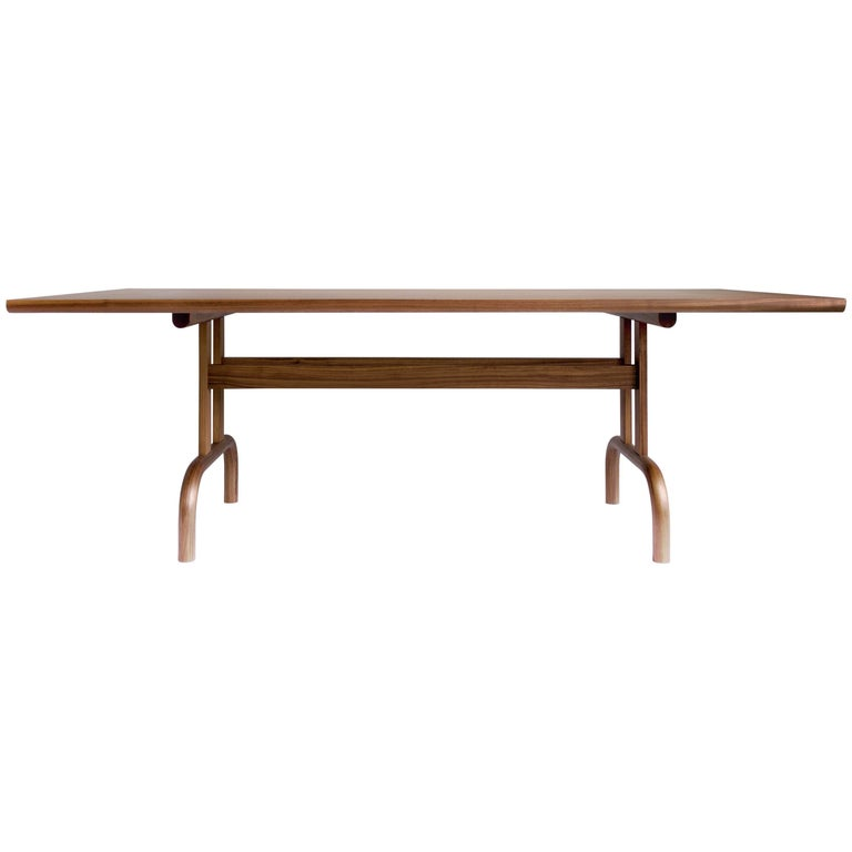 Feast Dining Table, Solid Wood and Brass For Sale