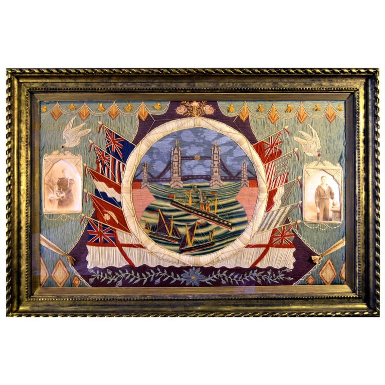 Rare British Sailor's Woolwork of Tower Bridge and the River Thames