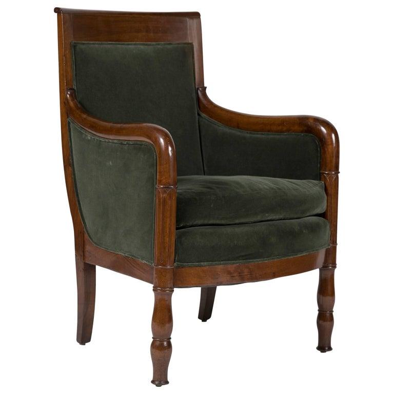 Directoire Bergère in Velvet Upholstered For Sale